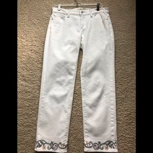 Lucky brand Cream crop jeans with embroidery